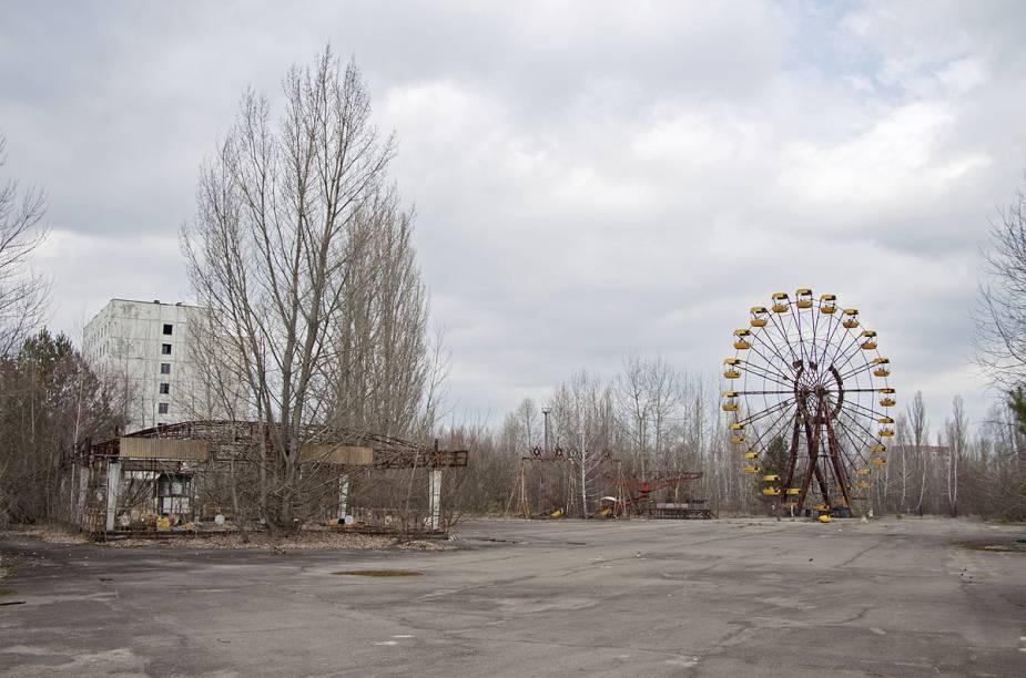 Vista geral de Pripyat, cidade próxima à Chernobyl, Ucrânia