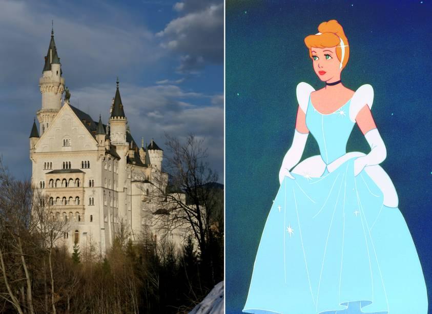 """<strong>Castelo de Neuschwanstein, Baviera, <a href=""""http://viajeaqui.abril.com.br/paises/alemanha"""" rel=""""Alemanha"""" target=""""_self"""">Alemanha</a>(<em>Cinderela)</em></strong>        Os parques da Disney reproduziram com louvor o castelão maravilhoso que aparece no filme da princesa mais esquecida da história. Onde já se viu perder um sapato caro de cristal, minha gente? Mas tudo aquilo que a gente vê teve uma inspiração gloriosa: esse palácio na romântica região alemã da Baviera é de fazer qualquer um sonhar com um baile daqueles. Mas de preferência, sem virar abóbora à meia noite        <em><a href=""""http://www.booking.com/city/de/fussen.pt-br.html?aid=332455&label=viagemabril-destinos-inspiradores-dos-estudios-disney"""" rel=""""Veja preços de hotéis próximos à Baviera no Booking.com"""" target=""""_blank"""">Veja preços de hotéis próximos à Baviera no Booking.com</a></em>"""