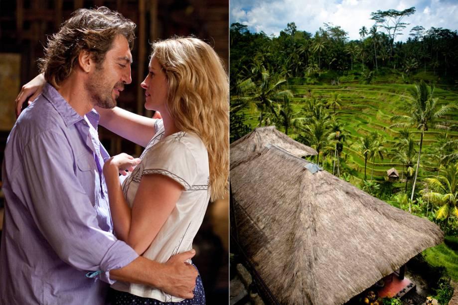 """<strong>Comer, Rezar, Amar <a href=""""http://viajeaqui.abril.com.br/cidades/indonesia-bali"""" rel=""""(Bali, Indonésia)"""">(Bali, Indonésia)</a></strong><br />      Bali, na Indonésia, é a última parada de Liz Gilbert (Julia Roberts) em sua viagem sabática em busca do equilíbrio, durante a qual passou também pela <strong><a href=""""http://viajeaqui.abril.com.br/paises/italia"""" rel=""""Itália"""">Itália</a></strong> e pela <a href=""""http://viajeaqui.abril.com.br/paises/india"""" rel=""""Índia""""><strong>Índia</strong></a>. A cidade asiática representa o último pilar da jornada: o amor. Na ilha, onde conhece o brasileiro Felipe (Javier Bardem), a narrativa tem como paisagem monumentos para os deuses hindus e plantações de arroz (foto), um dos cenários mais fotogênicos do mundo"""