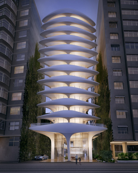 Em formato de espinha dorsal, o prédio de apartamentos projetado por Zaha na Avenida Atlântica deverá ter 12 andares e 40 metros de altura