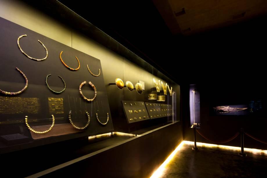 Sala em que está a Dama de Cao e o rico espólio encontrado com ela no complexo arqueológico El Brujo