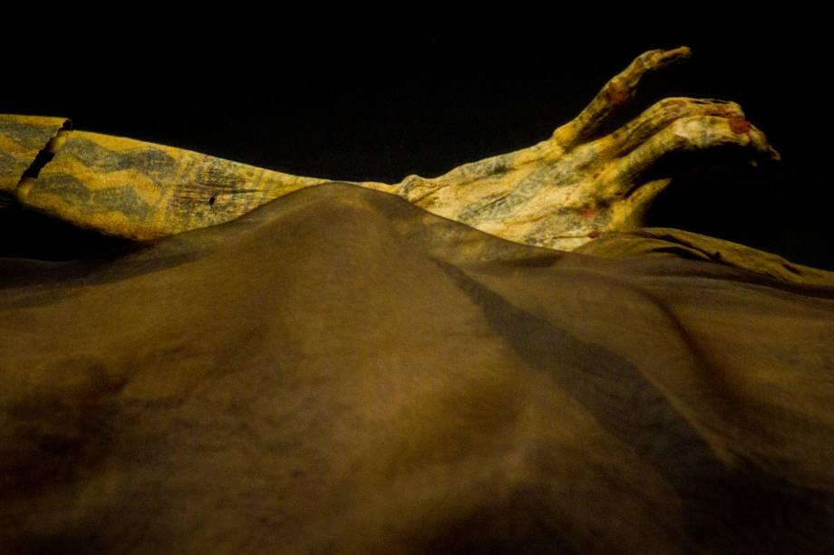 Detalhe das tatuagens na pele ainda intacta da Dama de Cao, no complexo arqueológico El Brujo