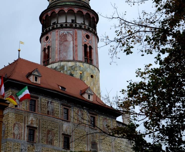 Detalhe da torre do castelo de Cesky Krumlov, República Tcheca