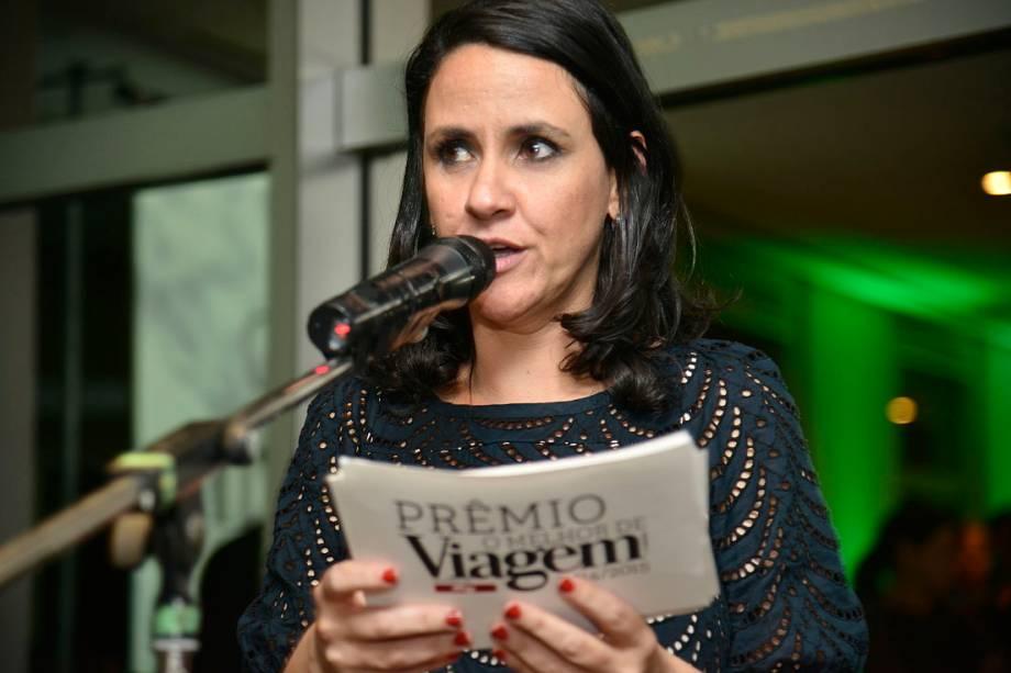A diretora de redação da revista Viagem e Turismo, Angélica Santa Cruz, na abertura da premiação de O Melhor de Viagem e Turismo, na Editora Abril, em São Paulo (SP)