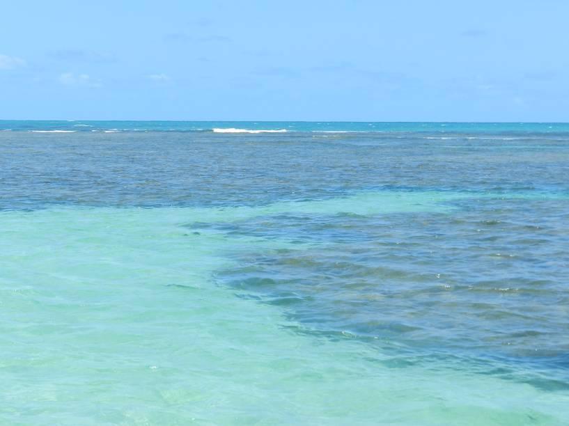 Durante a navegação até as piscinas é difícil escolher entre olhar para a praia deslumbrante com seu imenso coqueiral ou para o contraste dos arrecifes com as águas cristalinas