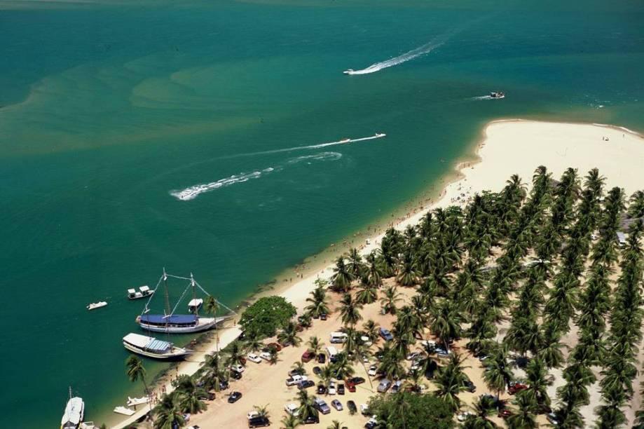 Repleta de coqueirais, a Praia do Gunga lembra uma península, com mar de um lado e a Lagoa do Roteiro do outro