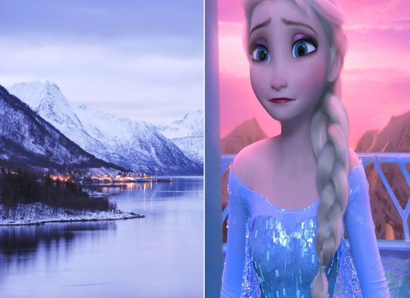 """<strong>Fiordes da <a href=""""http://viajeaqui.abril.com.br/paises/noruega"""" rel=""""Noruega"""" target=""""_self"""">Noruega</a> (<em>Frozen</em>)</strong>        <em>Livre Estou</em> e <em>Você Quer Brincar na Neve?</em> fizeram tanto sucesso com os pequenos em 2014 (ano de lançamento do filme) quanto (ou mais) as músicas chiclete de <em>A Galinha Pintadinha</em>. Independente de tudo isso, vale a pena ver o quanto a animação valoriza o amor entre duas irmãs. O reino onde as princesas nórdicas Elsa e Anna vivem lembra os fiordes e as paisagens naturais (e geladas) da Noruega. <em>Brrr</em>        <a href=""""http://www.booking.com/city/no/bergen.pt-br.html?aid=332455&label=viagemabril-destinos-inspiradores-dos-estudios-disney"""" rel=""""Veja preços de hotéis próximos aos fiordes noruegueses no Booking.com"""" target=""""_blank""""><em>Veja preços de hotéis próximos aos fiordes noruegueses no Booking.com</em></a>"""