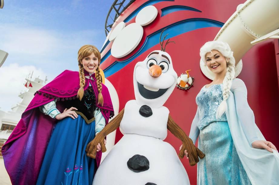 """Os personagens de """"Frozen"""" fazem um tour pelos barcos Disney Magic, Disney Wonder, Disney Fantasy e Disney Dream, da Disney Cruise Lines, a partir do verão no hemisfério norte"""