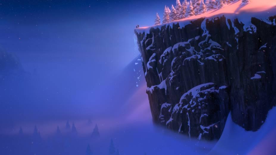 Cena do filme Frozen, que retrata paisagens nórdicas