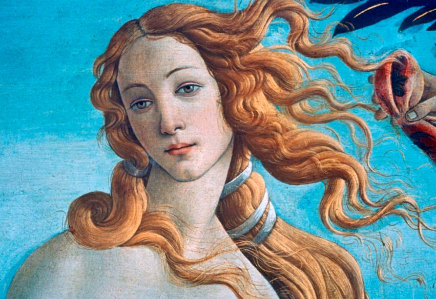 Detalhe do <strong>Nascimento de Vênus</strong>, na Galeria Ufizzi