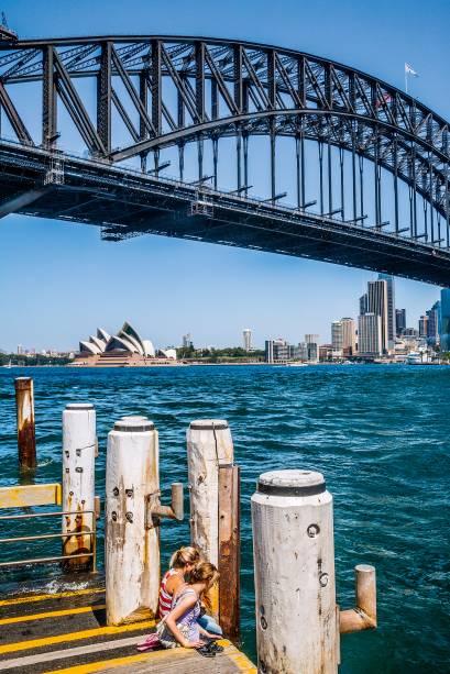 Cais de Milsons Point e a Harbour Bridge, em Sydney