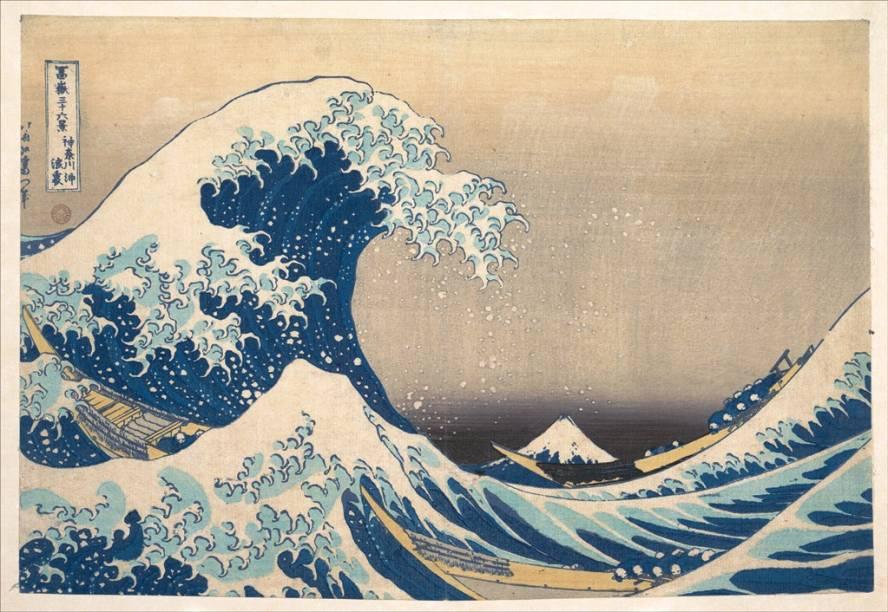 <em>A Grande Onda de Kanagawa</em>, da série 36 vistas do Monte Fuji, de Katsushika Hokusai, é uma xilogravura com inúmeras cópias controladas. Esta pertence ao Metropolitan Museum of Art