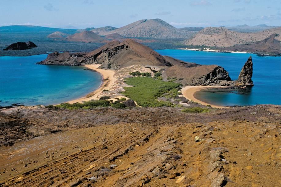 A Ilha Bartolomeu, de origem vulcânica, uma das muitas do Arquipélago de Galápagos