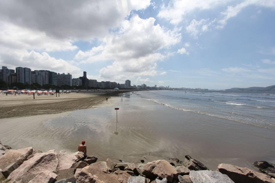 Vista do Parque do Emissário, na praia José Menino, em Santos