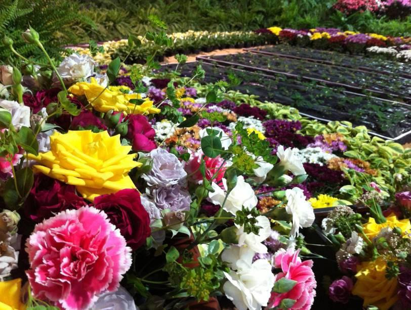 Arranjo de flores naFesta de Flores e Morangos de Atibaia, em São Paulo