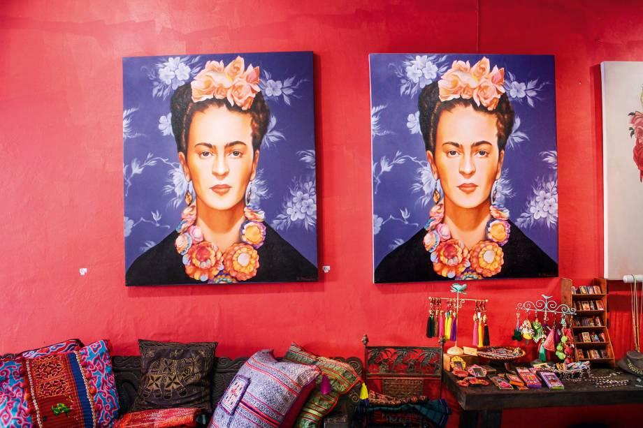 A Frida Khalo em uma das lojas de Sayulita, em Riviera Nayarit