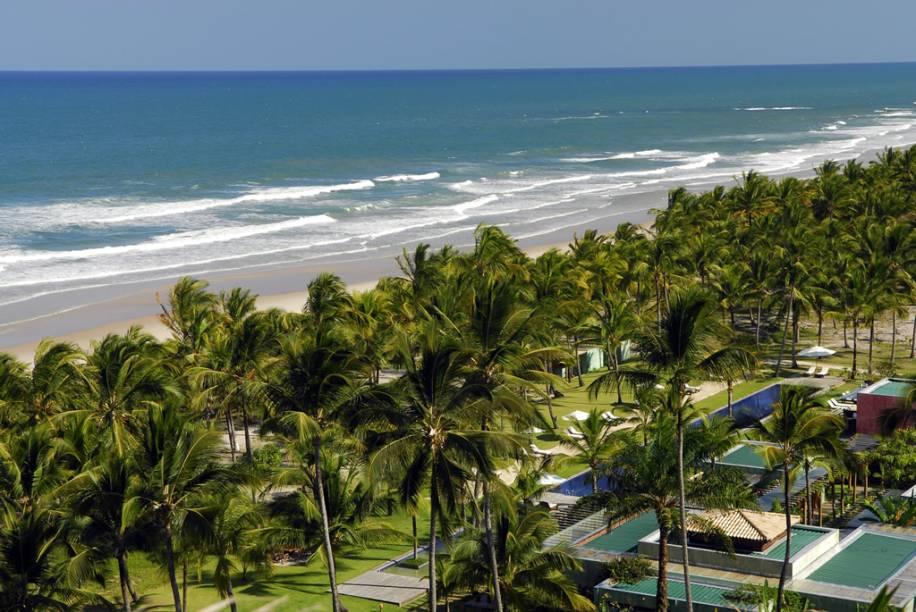 Vista aérea do Txai Resort, na Praia de Itacarezinho