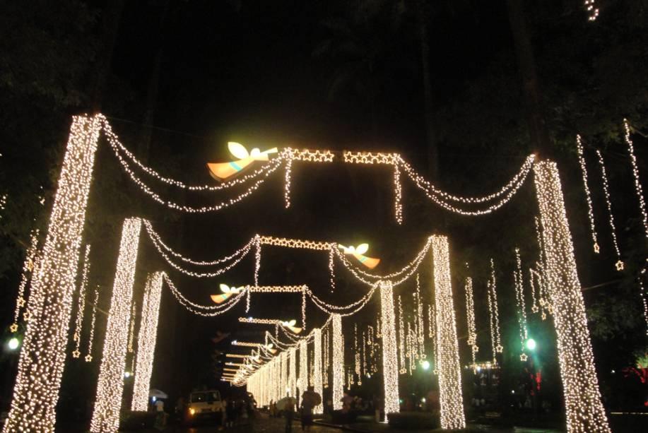 Corredor iluminado da <strong>Praça da Liberdade</strong> no Natal 2010 em Belo Horizonte (MG)