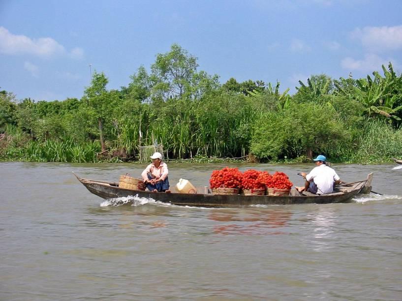 <strong>Delta do Mekong:</strong>Densamente povoado, a região do Delta do Mekong, uma das mais férteis do Vietnã, pode tornar-se vítima das mudanças climáticas. Um aumento do nível do mar inundaria rapidamente as fazendas de camarões, os vilarejos e os cultivos agrícolas, que garantem trabalho e sustento para os moradores locais. Segundo as previsões mais pessimistas, até 2100, o mar engolirá 5% do território, 7% das terras agrícolas e 11% de sua população.