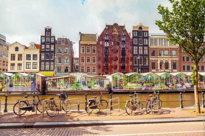 Mercado das flores flutuantes, Amsterdã, Holanda