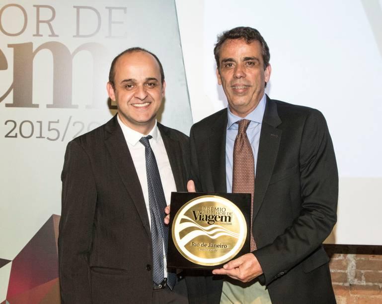 O prêmio de melhor cidade foi para o Rio de Janeiro, e quem recebeu a placa foi Paulo Villela, diretor de marketing da Riotur