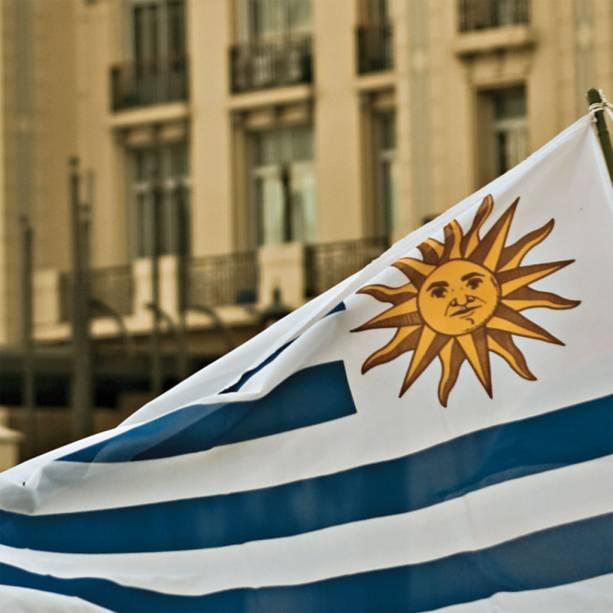 A bandeira uruguaia do sol sorridente