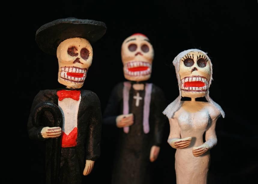 As caveirinhas representam personagens clássicos no Dia dos Mortos mexicano: as crianças adoram os doces coloridos feitos em formato de crâneo e vendidos nas padarias das cidades