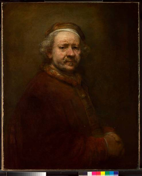 Autorretrato de Rembrandt van Rijn aos 63 anos (detalhe), National Gallery, Londres