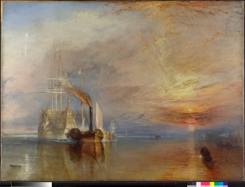 <em>The Fighting Temeraire tugged to her last berth to be broken up (O Fighting Temeraire sendo rebocado para ser desmontado)</em>, the JMW Turner, é considerado por muitos a obra mais querida do acervo da National Gallery de Londres