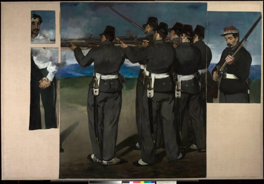 <em>A Execução de Maximiliano I </em>(1867-8), um dos destaques da National Gallery de Londres, é uma coleção de fragmentos retalhados provavelmente pelo próprio autor, Edouard Manet
