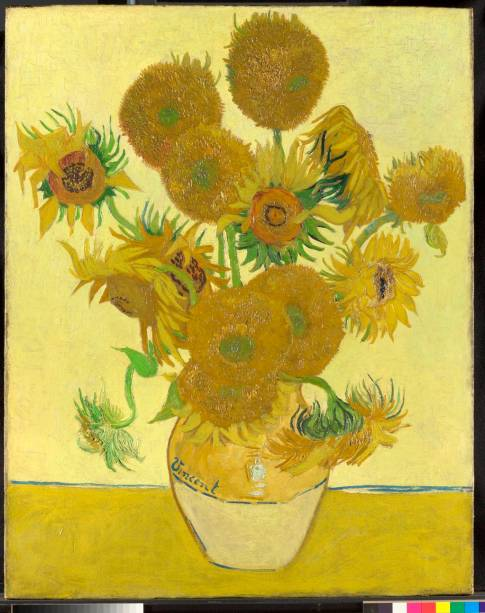 Girassóis (detalhe), de Vincent van Gogh (1888), National Gallery, Londres