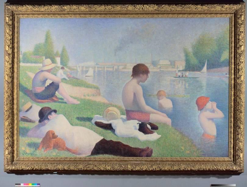 Banhistas em Asières (1884), obra-prima do mestre do pontilhismo Georges Seurat, na National Gallery de Londres
