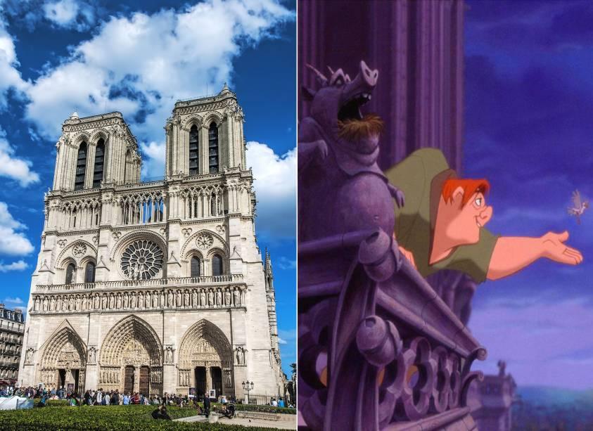 """<strong><a href=""""http://viajeaqui.abril.com.br/estabelecimentos/franca-paris-atracao-catedral-de-notre-dame"""" rel=""""Catedral de Notre Dame"""" target=""""_self"""">Catedral de Notre Dame</a>, <a href=""""http://viajeaqui.abril.com.br/cidades/franca-paris"""" rel=""""Paris"""" target=""""_self"""">Paris</a>, <a href=""""http://viajeaqui.abril.com.br/paises/franca"""" rel=""""França"""" target=""""_self"""">França</a> (<em>O Corcunda de Notre Dame</em>)</strong>        Os sinos da mais importante igreja da capital francesa inspiraram a figura do personagem Quasímodo, um corcunda adotado pelo vigário e ministro Frollo, qua habita os esconderijos da catedral. As cores do mundo cigano, sobretudo nas vestes da linda Esmeralda, trazem um pouco de alegria para a triste história do homem, órfão de mãe depois de uma emboscada provocada pelo homem que o adotou. Críticas à nobreza ficam nítidas tanto no conto de Victor Hugo quanto no filme        <a href=""""http://www.booking.com/city/fr/paris.pt-br.html?aid=332455&label=viagemabril-destinos-inspiradores-dos-estudios-disney"""" rel=""""Veja preços de hotéis em Paris no Booking.com"""" target=""""_blank""""><em>Veja preços de hotéis em Paris no Booking.com</em></a>"""