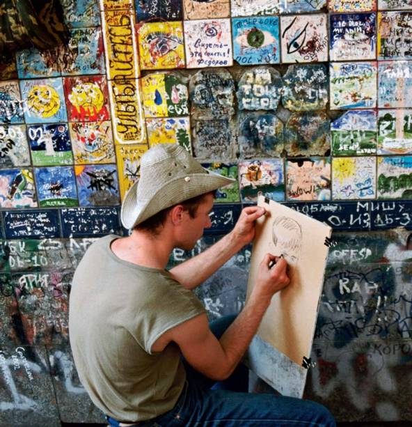 O traço dos artistas de rua, na Rússia