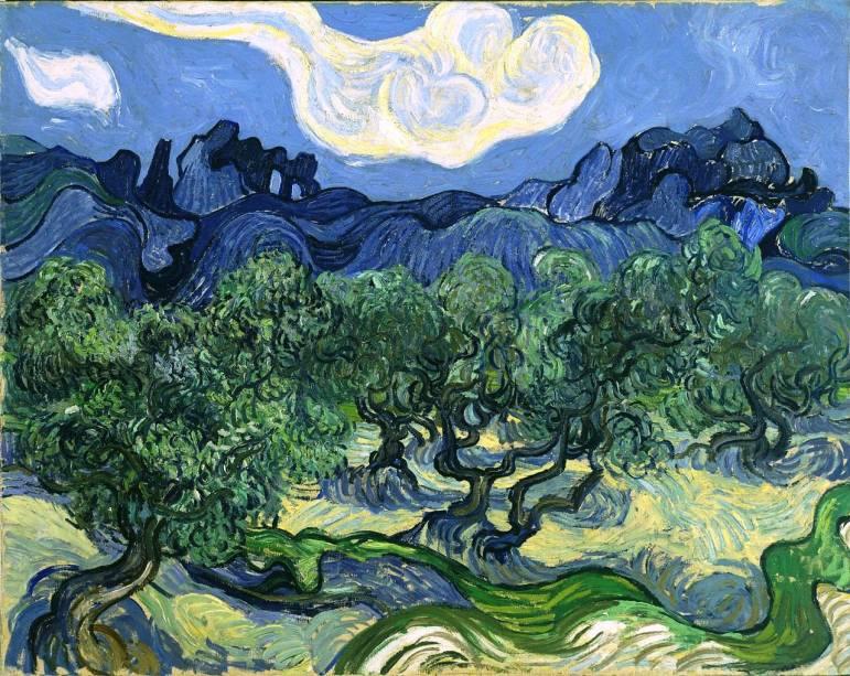 Olive Trees with the Alpilles in the Background, Vincent Van Gogh, 1889, em exposição no Museu de Arte Moderna de Nova York, o MoMA