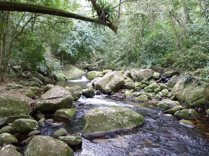 Rio que cruza a trilha a pé para a Cachoeira do Gato, na Praia de Castelhanos