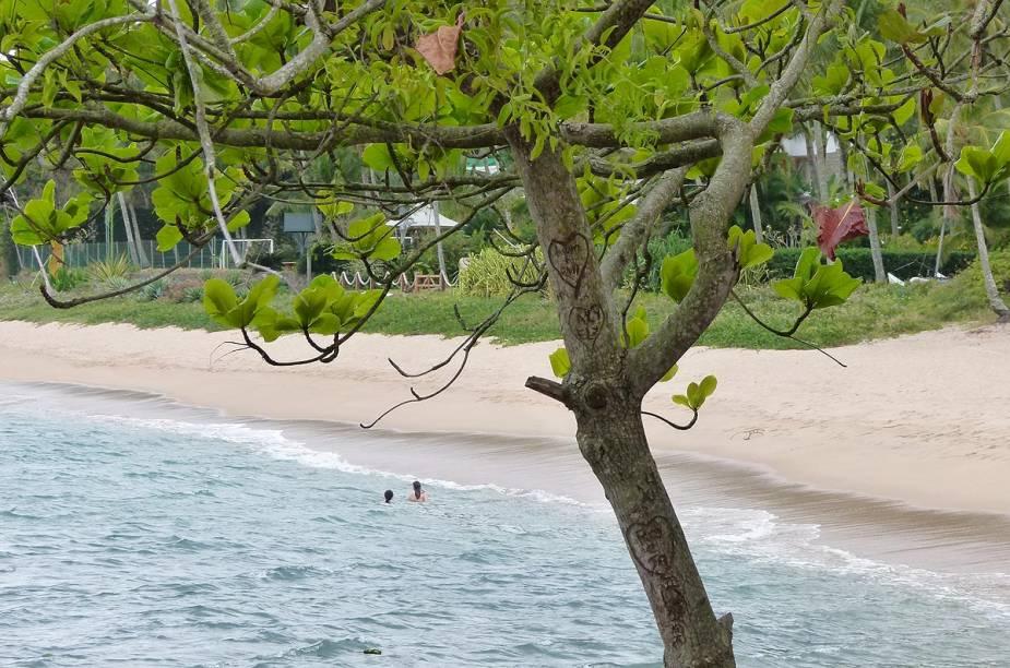 Banhistas se divertem na praia da Feiticeira, em Ilhabela