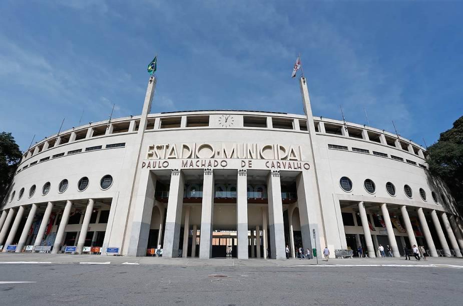 Fachada do estádio do Pacaembu, em São Paulo (SP)