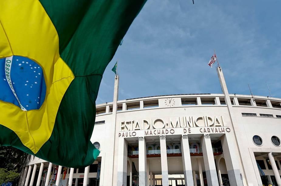O Museu do Futebol fica embaixo de uma das arquibancadas do estádio do Pacaembu, em São Paulo (SP)