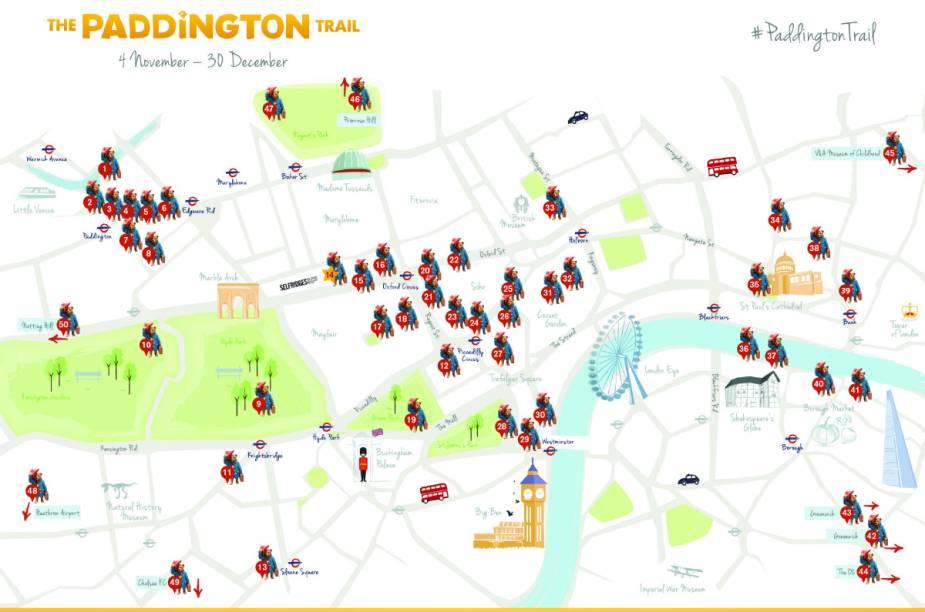 """Mapa da localização das estátuas do Paddington Bear (veja a imagem maior <a href=""""http://msalx.viajeaqui.abril.com.br/2014/11/10/0836/6htnN/paddington-trail-front-map_a4-final-hi-res.jpeg?1415615826"""" rel=""""aqui"""" target=""""_blank"""">aqui</a>)"""