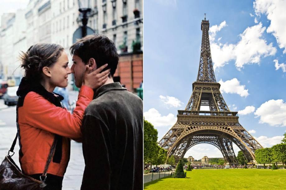 """<strong>Paris, Te Amo <a href=""""http://viajeaqui.abril.com.br/cidades/franca-paris"""" rel=""""(Paris, França)"""">(Paris, França)</a></strong><br />      O filme é uma seleção de 20 curtas com 5 minutos de duração cada um e dois temas em comum: amor e Paris. As diversas histórias são retratadas em toda a capital francesa, em locações como o bairro <strong>Montmartre</strong>, que dá nome ao primeiro recorte, e a <strong>Rue Du Faubourg-Saint-Denis</strong>, título e cenário do curta estrelado por Natalie Portman (na foto, à esq.). Já a <strong>Torre Eifel</strong>, claro, tem um roteiro só dela e fecha, toda iluminada, a cena final do longa"""