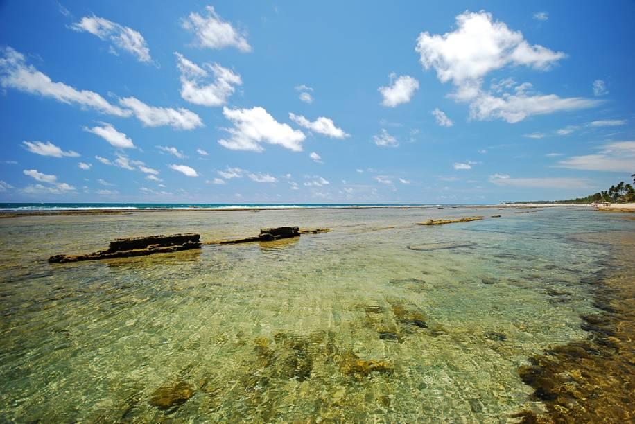 """A praia Muro Alto tem um grande """"lago natural"""", de águas calmas e transparentes, limitado por um paredão de recifes"""