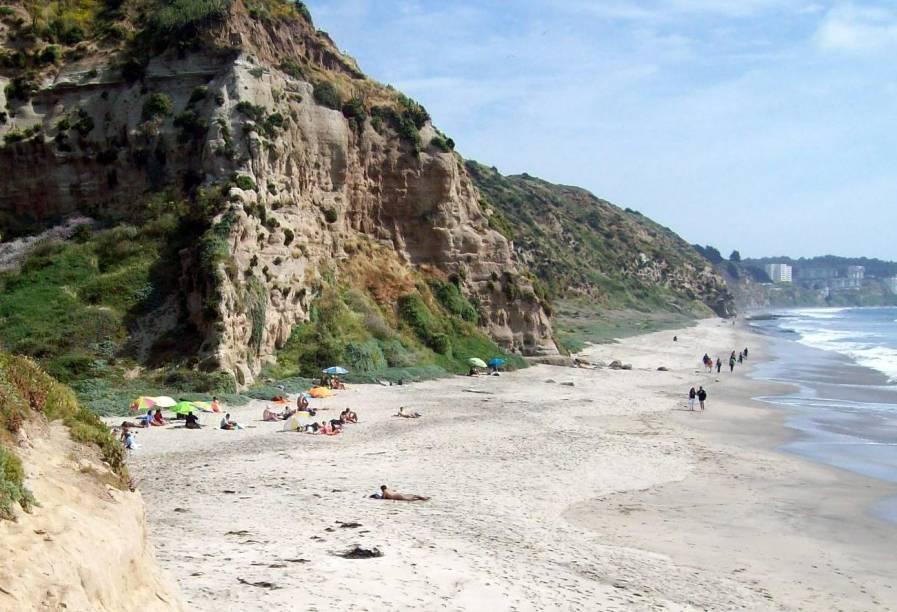 """Em <a href=""""http://viagemeturismo.abril.com.br/cidades/valparaiso/"""" target=""""_blank"""">Valparaíso</a>, na comuna Puchuncaví, é difícil o acesso à Playa Luna. Caminhe 20 minutos a partir de <strong>Horcón</strong> pela orla da praia, passando por pedras e pela vegetação costeira. Mas vale a pena: a praia de 500 metros é a <strong>única no país</strong> em que o naturismo é organizado e permitido (mas não é obrigatório)"""