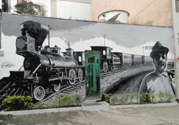 Adoniran Barbosa e seu famoso Trem das Onze, na Praça Benedito Calixto, em Pinheiros