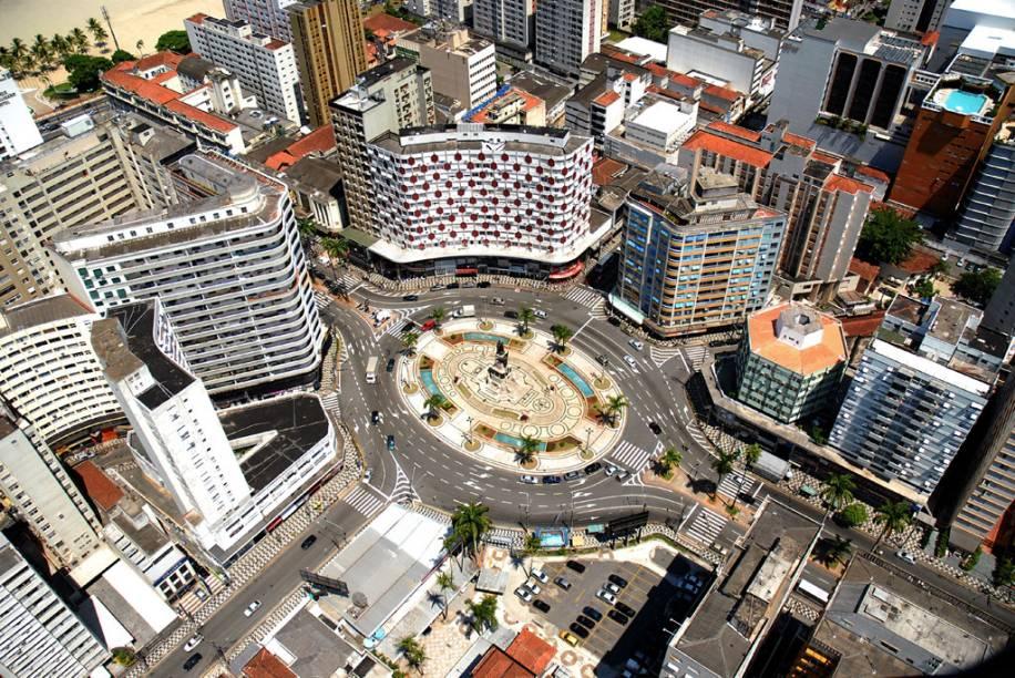 Vista aérea da Praça da Independência, local de comemoração dos torcedores do Santos