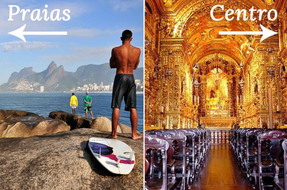 Clique na seta para a direita para ver o roteiro pelo Centro do Rio de Janeiro, ou clique na seta para a esquerda para pegar as dicas de um roteiro pelas praias da Cidade Maravilhosa