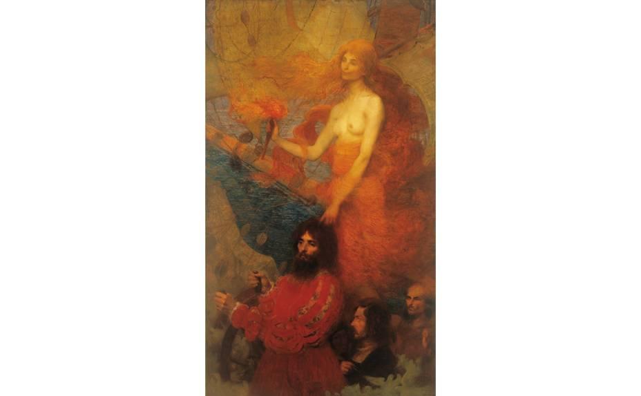 A Providência Guia Cabral (1899), obra de Eliseu Visconti, em exibição na Pinacoteca do Estado de São Paulo