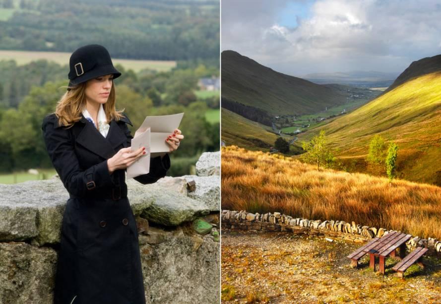 """<strong>P.S. Eu Te Amo <a href=""""http://viajeaqui.abril.com.br/paises/irlanda"""" rel=""""(Irlanda)"""">(Irlanda)</a></strong><br />      Pouco após a morte do marido irlandês, a americana Holly (Hilary Swank, na foto) passa a receber cartas que ele havia programado, durante a doença, para ajudá-la a superar a dor e embarcar numa jornada de autoconhecimento. De fato, Gerry (Gerard Butler) agendou para ela uma viagem à terra natal dele. Na Irlanda, Holly passeia pelo campo idílico onde se conheceram, visita a casa de Gerry em <strong>County Wicklow</strong> e bebe cerveja no <strong>Whelans Pub</strong>, em <a href=""""http://viajeaqui.abril.com.br/cidades/irlanda-dublin"""" rel=""""Dublin""""><strong>Dublin</strong></a>"""