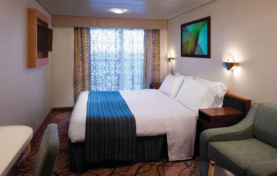 Cabine para casal é uma das opções de acomodação no navio
