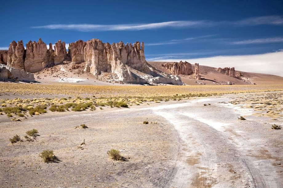 """<strong>3. <a href=""""http://viajeaqui.abril.com.br/cidades/chile-san-pedro-de-atacamac"""" rel=""""Deserto de Atacama"""" target=""""_blank"""">Deserto de Atacama</a>, <a href=""""http://viajeaqui.abril.com.br/paises/chile"""" rel=""""Chile"""" target=""""_blank"""">Chile</a></strong>                                                Uma fronteira geopolítica separa Uyuni de Atacama - no fundo, o ecossistema é o mesmo. Apesar de a altitude de Atacama ser um pouco menor, no lado chileno do deserto também há lagunas, vulcões desativados, gêiseres, flamingos e planícies cobertas de sal"""